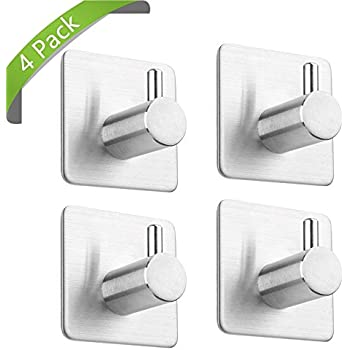 Taozun 4 Pack Towel/Robe Hook 3M Self Adhesive For Kitchen Bathroom SUS304  Stainless
