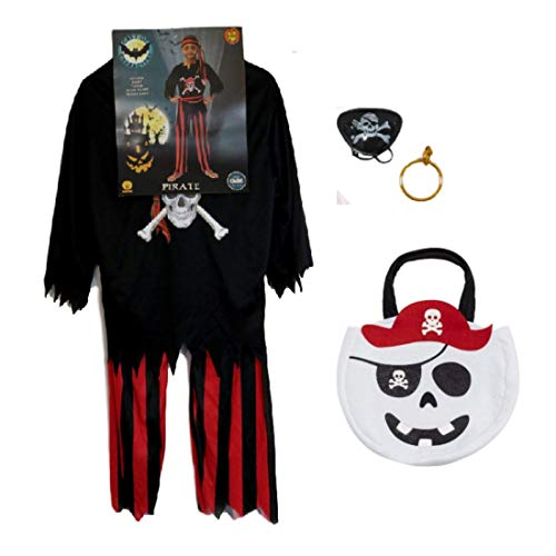 Spooky Things Halloween Boys Pirate Costume Outfit Trick Treat Bag Pirate Playset (Large 12-14)