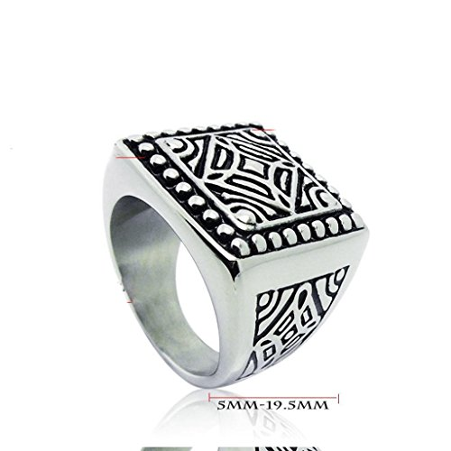 Mens Stainless Steel Finger Rings Retro Personalized Square Size 9 - Adisaer Jewelry