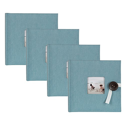 DesignOvation Kim Teal Fabric Photo Album with Ribbon and Button Closure, Holds 200 4x6 Photos, Set of 4