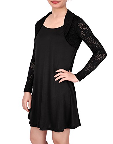 HDE Women's Bolero Long Sleeve Cardigan Shrug (Black Lace, Medium)