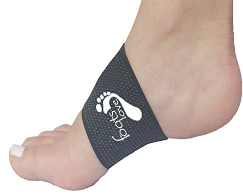 Foots Love. Compression Copper Arch Support - 2 Plantar Fasciitis Braces / Sleeves. Stop Arch Pain, Heel Spurs and Flat Feet. Corrects Pain in Feet, Knees, Back and Hips. (Black)