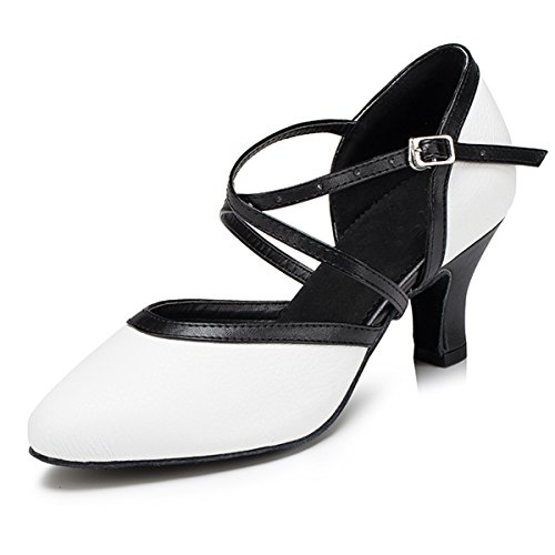 Miyoopark Low Wedding Heel Pumps Shoes Ballroom Party Dancing Latin Leather Ankle Strap Women's Heel White 6cm wrRq1w