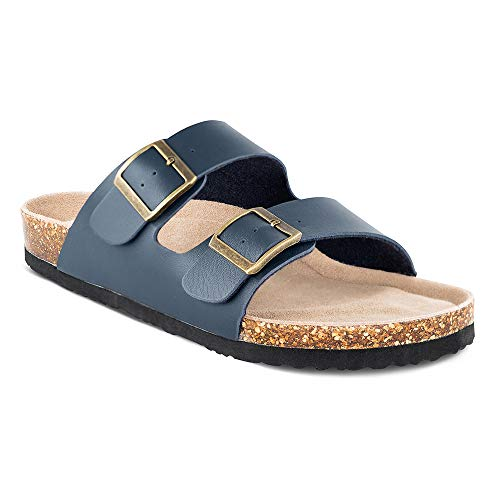 TF STAR Men's Slip On Flat Casual Cork Sandals with 2-Strap Buckle,Leather Cork Slide Arizona Sandals for Men Navy ()