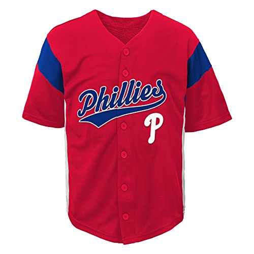 MLB by Outerstuff MLB Philadelphia Phillies Boys Fashion Jersey, Athletic Red, 4/5