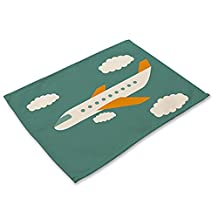 "YJ Bear Cartoon Airplane White Cloud Print Non-slip Heat Insulation Dining Table Mats for Teacups Table Runner Cotton Linen Placemats for Kitchen Washable Table Mats 16.5"" X 12.6"""