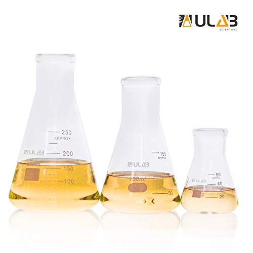 ULAB Scientific Narrow-Mouth Glass Erlenmeyer Flask Set, 3 Sizes 50ml 150ml 250ml, 3.3 Boro with Printed Graduation, UEF1001