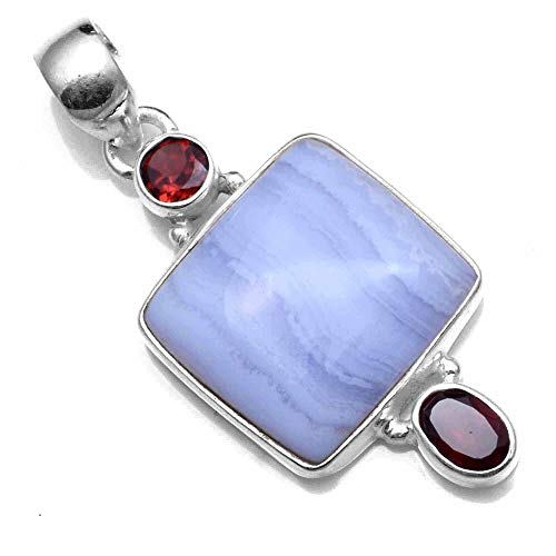 Silver Palace 925 Sterling Silver Natural Blue Lace Agate,Garnet Pendants for Women and Girls
