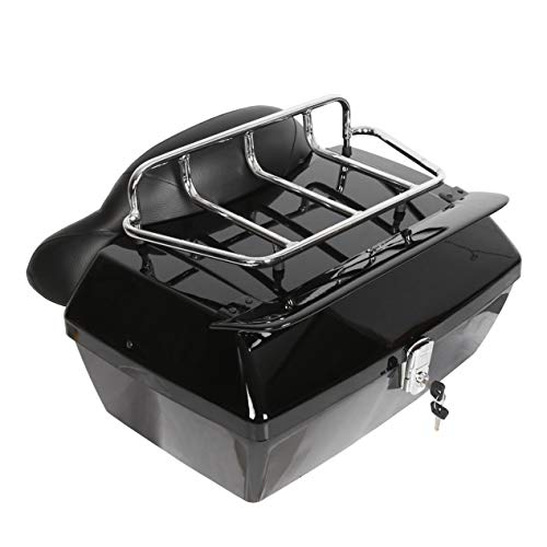 EGO BIKE Black Motorcycle Trunk Tour Pack Luggage for Harley Honda Yamaha Suzuki Cruiser Motorcycle Luggage Tour Trunk Tail Box with Top Rack Backrest