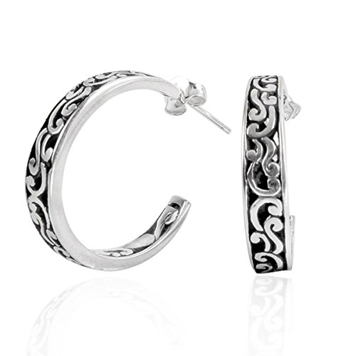 (Sterling Silver Hoop Earring With Plain Silver AE-1019-S)