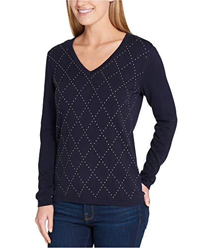 Tommy Hilfiger Womens Argyle V-Neck Pullover Sweater Navy S