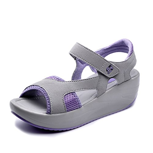 JEFCY Womens Wedge Platform Sandals Sports Summer Breathable Comfortable Casual Open Toe Walking Sandal Purple -