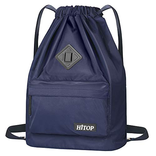HITOP Drawstring Backpack, Waterproof Snow Resistant Bookbag Lightweight Sport Gym Bag For Men Women and Kids (Blue)