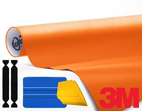 3M 1080 Matte Orange Air-Release Vinyl Wrap Roll Including Toolkit (1ft x 5ft)