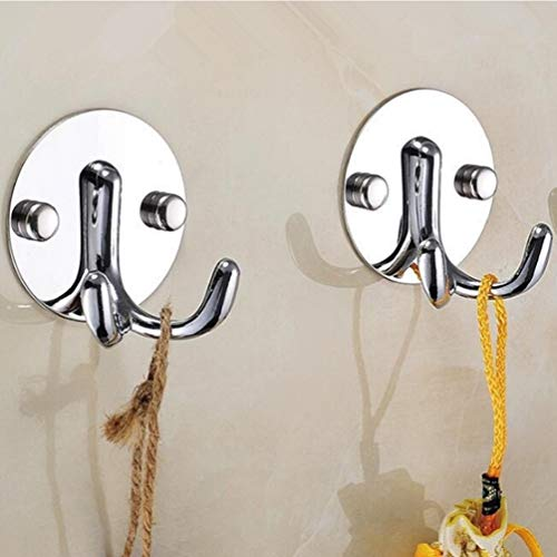 2 Pieces Double Prong Robe Hooks, Heavy Duty Wall Hooks Stainless Steel Ultra Strong Waterproof Hanger for Robe, Coat, Towel, Keys, Bags, Home, Kitchen, Bathroom (Metallic) (Two Prong Hook)