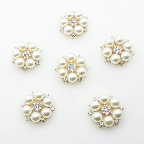 30pcs 28mmx26mm Gold Round Pearl Embellishment Rhinestone Pearl Button Flatback DIY Accessories Christmas Buttons (Gold) ()