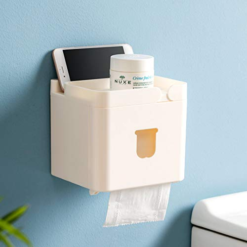 (Xiaomi 3 in 1 Waterproof Wall Mounted Bathroom Tissue Box Roll Issue Facial Tissue Dispenser Adhesive Hanging Cell Phone Holder)