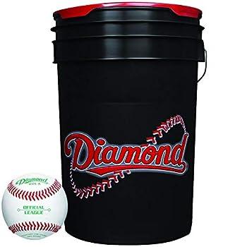 Image of Baseballs Diamond Dol-A Official League Leather Baseballs & Bucket 30 Ball Pack W/Bucket