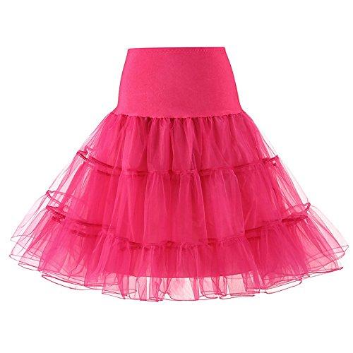Petticoat Fuschia Underskirt Femme 50s Tutu Jupe Tulle Vintage Jupons Sfit qO5fz