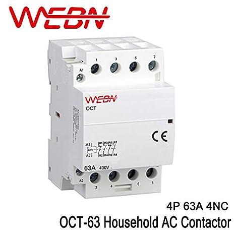 OCT-63 s/érie 4P 40A 2NC 60Hz contact 4NO 4NC DIN 2NO 40A, 2NO2NC 63A fonctionnement automatique AC M/énage Contacteur 220V 230V 50