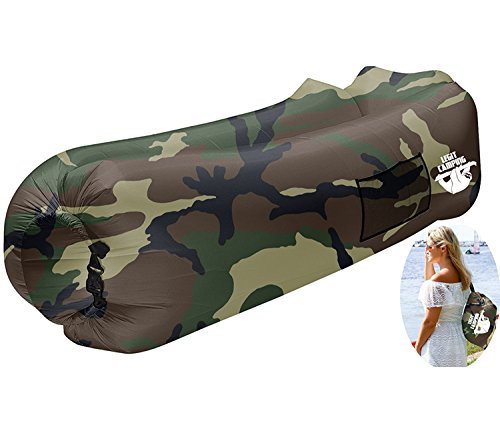 Lounger Camo - Legit Camping Inflatable Lounger by with Carrying Bag & Pockets for Indoors/Outdoors - Inflatable Couch & Air Chair with Headrest & Securing Stake for Camping Beach or Pool (Camouflage)