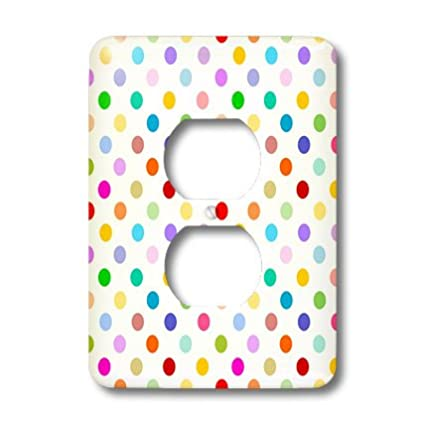 3dRose lsp/_56681/_6 Rainbow Multicolored Polka Dots on White  Colorful Cute and Girly Pattern  2 Plug Outlet Cover