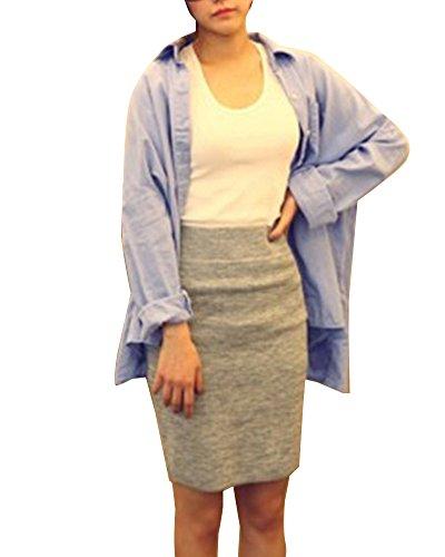 Runyue Femme Jupe Midi Uni Crayon Moulant Elastique en Taille Haute Casual Bodycon Jupe Style OL Confortable Gris Clair