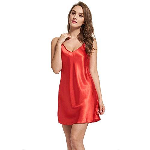 En Con Clásico Pijamas Sling Suave Mangas Camisón Ropa Dormir De Cuello Sección Mujeres V Tela Seda Sin Naranja Camisa CnxPOCw