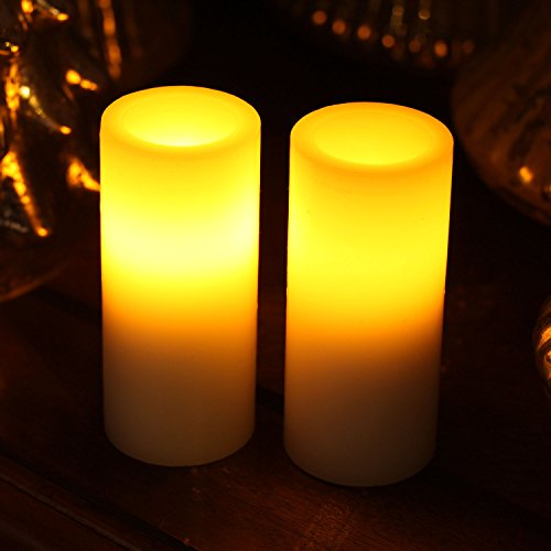 GiveU Flameless Led Pillar Candle with Timer, Battery Operated for Celebration Party, White, 1.75x4 Inches, Set of