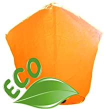 Just Artifacts ECO Wire-Free Flying Chinese Sky Lanterns (Set of 10, Diamond, Orange) - 100% Biodegradable, Environmentally Friendly Lanterns!