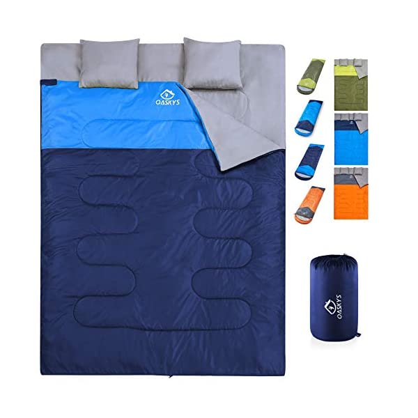 oaskys Camping Sleeping Bag - 3 Season Warm & Cool Weather - Summer, Spring, Fall, Lightweight, Waterproof for Adults & Kids - Camping Gear Equipment, Traveling, and Outdoors (Double Navy Blue) 3