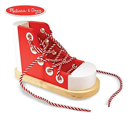 (Melissa & Doug Deluxe Wood Lacing Sneaker (Learn to Tie a Shoe Educational Toy, Encourages)