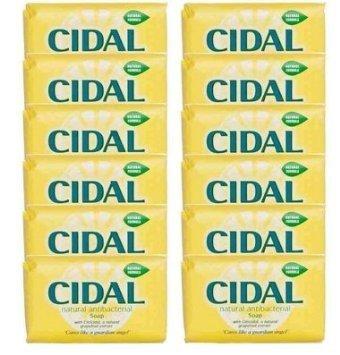 Cidal Natural Antibacterial Soap Bars 125g x 12 - Neutralises odours, Fresh