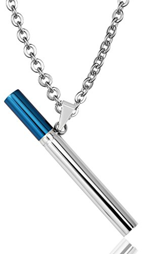 Moandy Jewelry Stainless Steel Flute Cigarette Shape Blue Silver Men's Pendant Necklace
