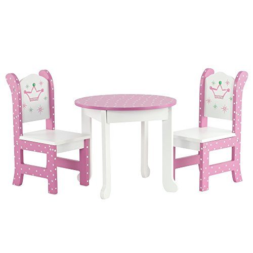 "18 Inch Doll Furniture Fits American Girl Dolls – 18 "" Wish Crown Table and Chairs"