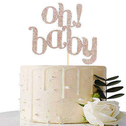 Pink Glitter OH Baby Cake Topper - Boy or Girl Baby Shower/Birthday Party/Gender Reveal Party Decorations