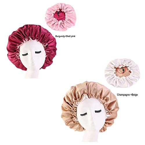 (Qhome Luxury Wide Band Satin Bonnet Cap Comfortable Night Sleep Hat Hair Loss Cap)