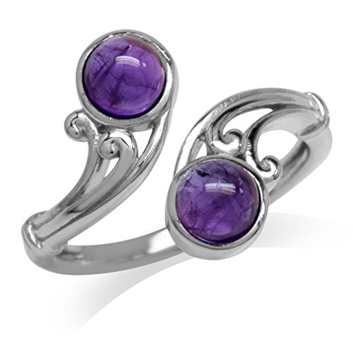 Cabochon Amethyst White Gold Plated 925 Sterling Silver Victorian Swirl Bypass Ring Size 8