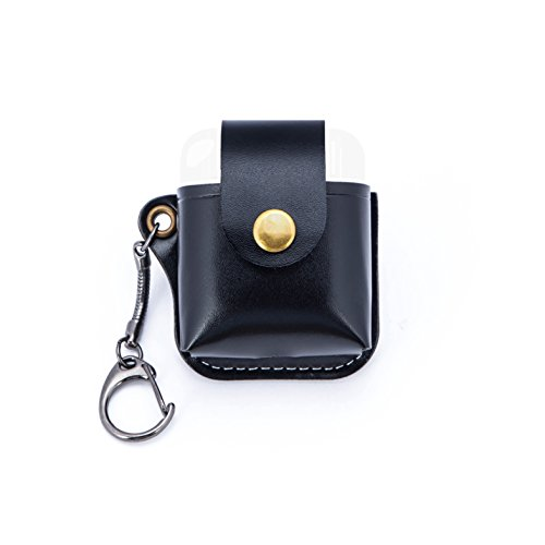 AirPods Case Premium PU Leather Protective Cover for Apple Airpods Charging Case (Black)
