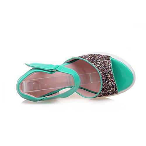 AllhqFashion Mujeres Puntera Abierta Velcro Material Mezclado Tachonado Plataforma Sandalia Verde