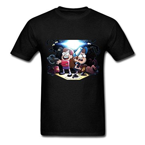 Gravity Falls Exploration KingDeng Short Sleeve Black Men T Shirt XX-Large