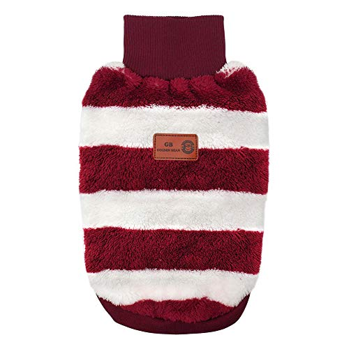 - Didog Soft Striped Sweaters Pajamas Coats, Puppy Dog Turtleneck Sweaters, Warm Dog Winter Clothes Fit Small Medium Dogs, Red, L Size