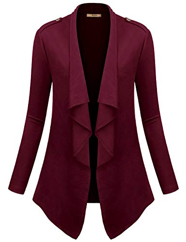 Miusey Long Cardigans for Women,Maternity Oversized Roomy Breathable Elastic Designer Long Cardigan Flattering Tops Athleisure Slouchy Sweatshirt Fall Outwear Burgundy XXL