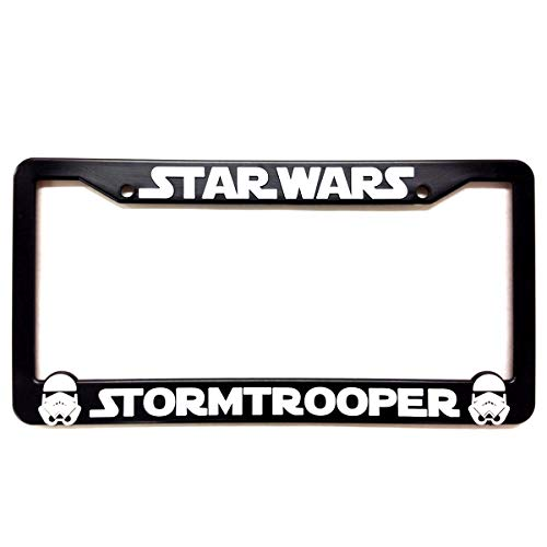 Custom Car Gear Star Wars Storm Troopers License Plate Frames Bracket 3D Raised Letters, Black w/White Lettering ()