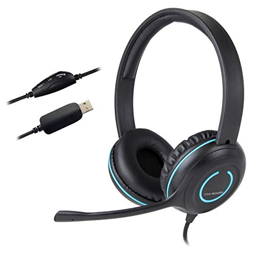 Cyber Acoustics USB Stereo Headset with Headphones and Noise Cancelling Microphone for PCs and Other USB Devices in The Office, Classroom or Home (AC-5008)