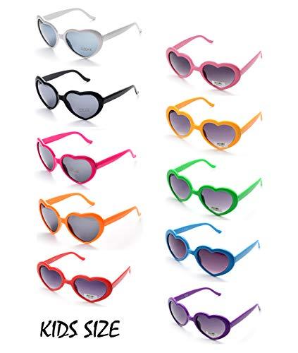 10 Neon Colors Heart Shaped Unisex Wholesale Sunglasses for Kids Party Favor Supplies (10-pack Mix) -