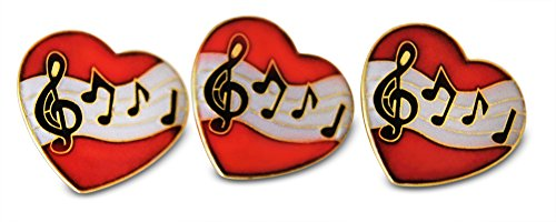String Bass Costume (Musician Heart Treble Clef & Notes 3-Piece Lapel or Hat Pin & Tie Tack Set with Clutch Back by Novel Merk)