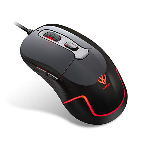 HIMIFOY Wired Gaming Mouse 3200 DPI 4 Adjustable DPI Levels 1200/1600/2400/3200 Computer Mice Desktop Laptop PC Mouse with Breathing Light & 6 Buttons for Windows 7/8/10/XP