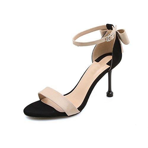 à Sandales Été Boucle Femme avec Ouvert Hauts Beige Sangle Bout Nouveau Talons XIAOQI Arc Ronde à Chaussures Fine qw4n5xUC4