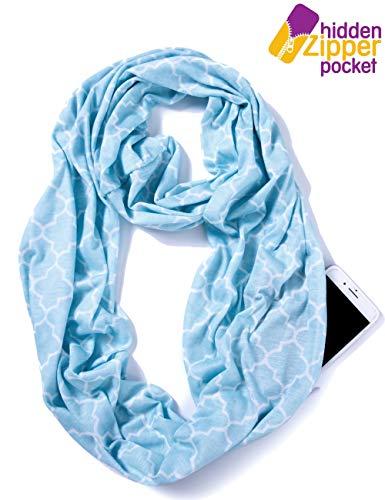 Elzama Infinity Loop Scarf With Hidden Zipper Pocket Printed Patterns For Women - Travel Wrap